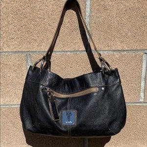 Tignanello Pebble Leather Ring Hobo handbag black